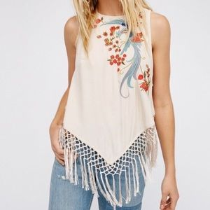 Free People Love Birds Fringe Top Embroidered Lrg